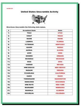 United States Bundle (List the States, Unscramble the ...
