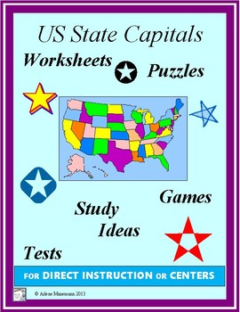 UNITED STATES CAPITAL CITIES  Activities, Tests, Puzzles, & Worksheets
