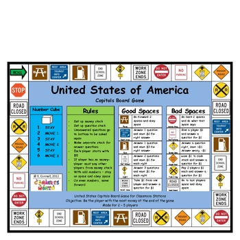 United States Capitals Board Game