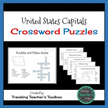 States And Capitals Crossword Teaching Resources Teachers Pay Teachers