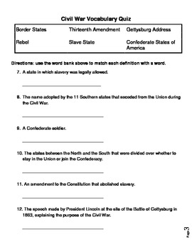 United States Civil War Vocabulary