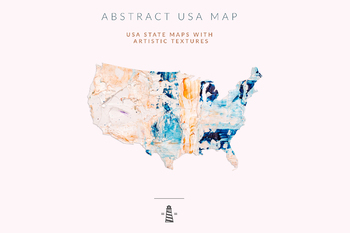 United States Clip Art, Hand Painted USA State Maps, 50 States Shapes