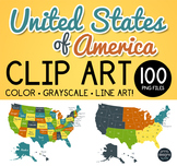 United States Clip Art PNG Files of USA Maps