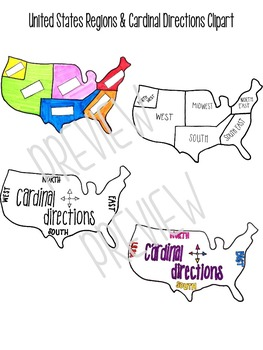 United States Clipart - Geographic Regions and Cardinal Directions