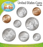United States Coins Currency Clip Art — Comes In Color and Black & White!
