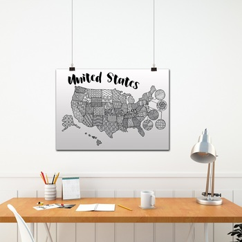 United States Coloring Map - Fits One Page