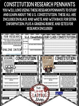 U.S Constitution Activity & United States History Research  •Teach- Go Pennants™