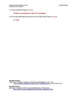 United States Constitution Article (Reading Level 1) Comprehension Worksheet