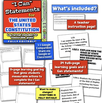 "United States Constitution ""I Can"" Statements & Learning Goals!  Log Format!"