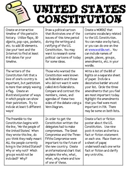 United States Constitution Menu with Research-Based Activities