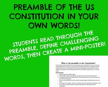 United States Constitution Preamble - I.Y.O.W.