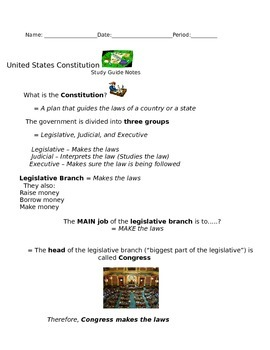 United States Constitution Study Guide Notes