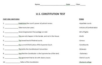 United States Constitution Test w/answer key by History ...