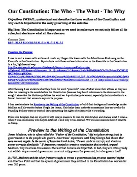 United States Constitution Unit from Rules to Constitution to Debate of Freedoms