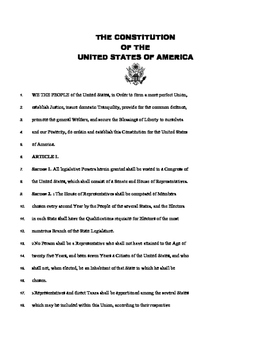 United States Constitution (annotated for teacher and student use)