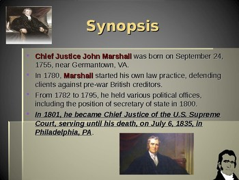 United States Court System - John Marshall - Chief Justice