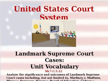 United States Court System - Landmark Supreme Court Cases - Unit Vocabulary