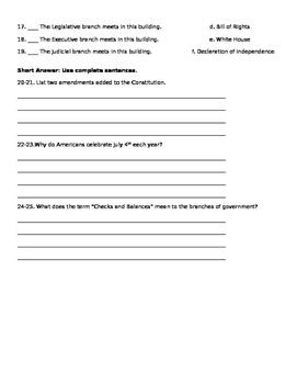 United States Documents Quiz
