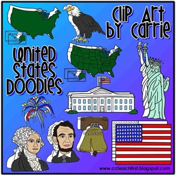 United States Doodles (BW and full-color PNG images)