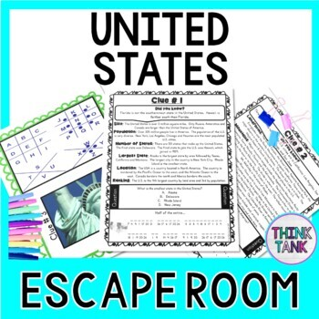 United States ESCAPE ROOM!  America and Geography -  USA - NO PREP, PRINT & GO!