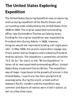 United States Exploring Expedition Handout