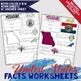 United States Facts Worksheets with Digital Slides