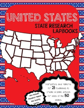 United States Fifty State Research Lapbook Interactive Pro