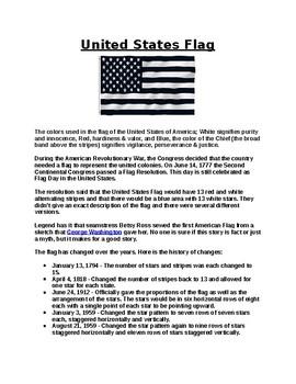 United States Flag Worksheet