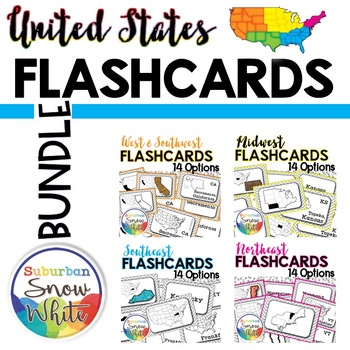 United States Flashcards, Differentiated {14 styles per region, Bundled}