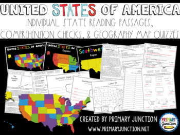 United States Fluency Comprehension And Map Quiz Packet