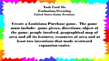 United States Gains Territory Task Cards