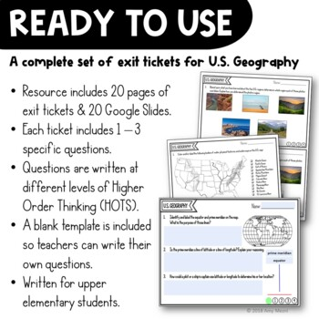 United States Geography Exit Tickets Set