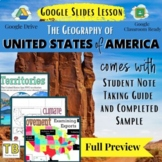 United States Geography Overview Google Slides and Note Ta