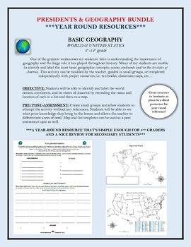 United States Geography & Presidents BUNDLE