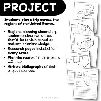 United States Geography Regions & State Research Project Unit 4th 5th 6th Grade