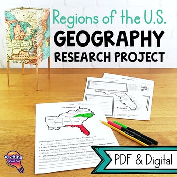 United States Geography Regions & State Research Project Unit Grade 4, 5, 6  US
