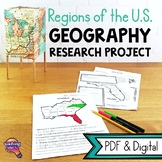 United States Geography Regions & State Research Project Unit
