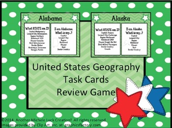 United States Geography Task Cards for all 50 States!  2 O