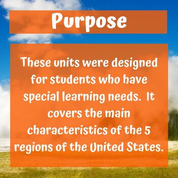 United States Geography Unit for Special Education