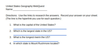 United States Geography Webquest with Interactive Hyperlinks