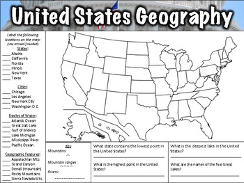 Us And Canada Map Label And Questions Worksheet US Geography Worksheet by Middle School History and Geography | TpT
