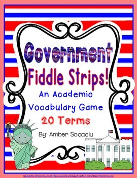United States Government Academic Vocabulary Fiddle Strips! Game