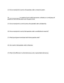 United States Government - Chapter 1 / Lesson 1 Study Guide / Study Notes