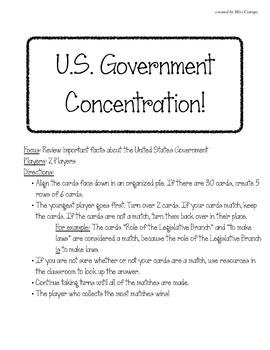 United States Government Matching Game