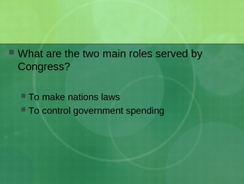 United States Government: Review Questions on Basic Tenants PowerPoint