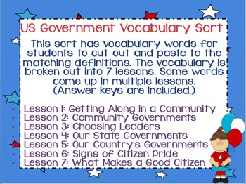 United States Government Vocabulary Sort Bundle for Elementary + Answer Keys