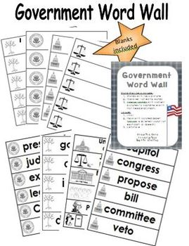 United States Government Vocabulary Word Wall