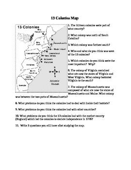 United States History: 13 American Colonies map and questions