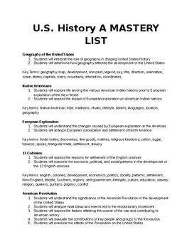 United States History A Mastery List