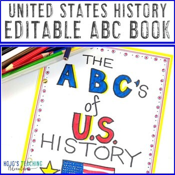 United States History ABC Book | US History Project for End of Lesson